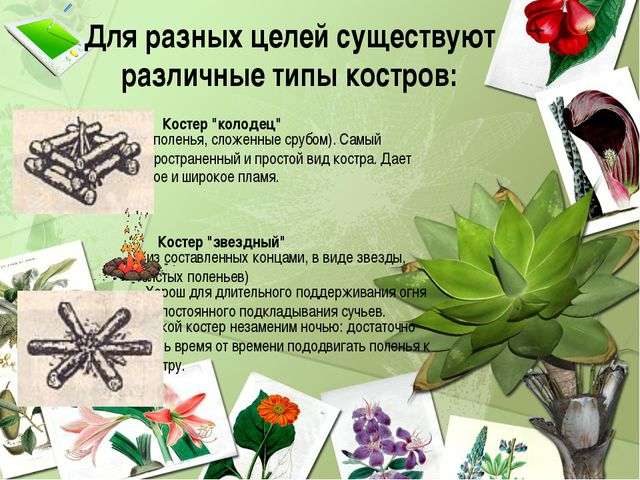 """Для разных целей существуют различные типы костров: Костер """"колодец"""" (поленья..."""