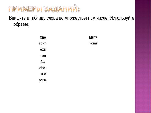 Впишите в таблицу слова во множественном числе. Используйте образец. OneMany...
