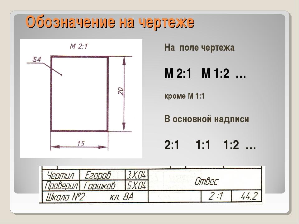 Обозначение на чертеже На поле чертежа М 2:1 М 1:2 … кроме М 1:1 В основной н...