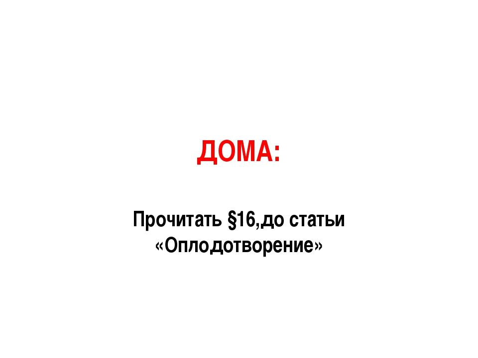 ДОМА: Прочитать §16,до статьи «Оплодотворение»