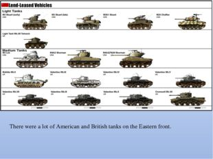 There were a lot of American and British tanks on the Eastern front.