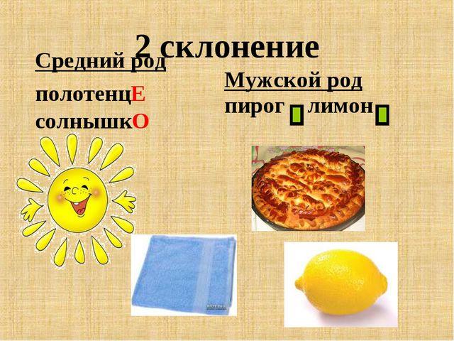 2 склонение Средний род полотенцЕ солнышкО Мужской род пирог лимон