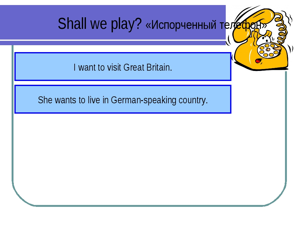 Shall we play? «Испорченный телефон» I want to visit Great Britain. She wants...