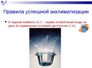 Правила успешной акклиматизации В жарком климате, 6 л. – норма потребления во