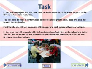 In this written project you will have to write information about different as