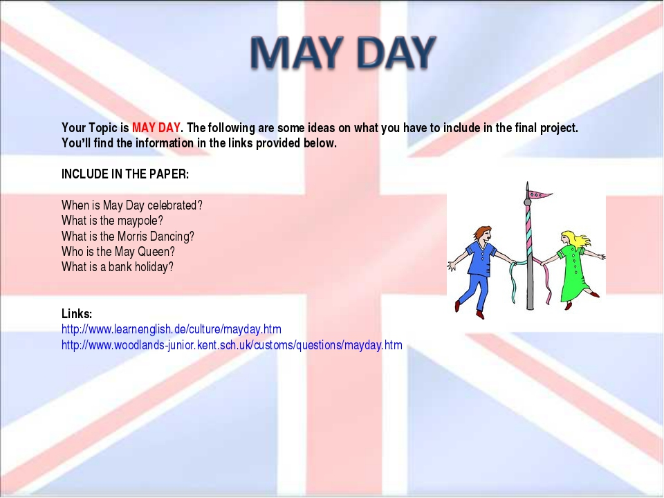 Your Topic is MAY DAY. The following are some ideas on what you have to inclu...