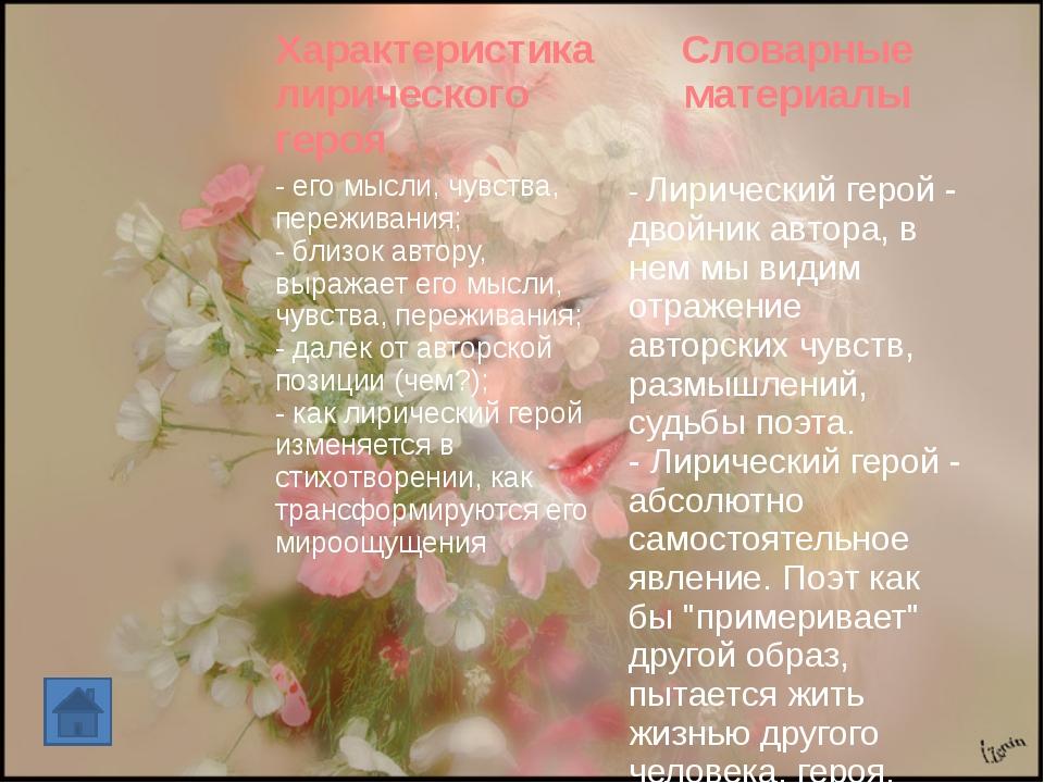 Характеристика лирического героя Словарные материалы - его мысли, чувства, п...