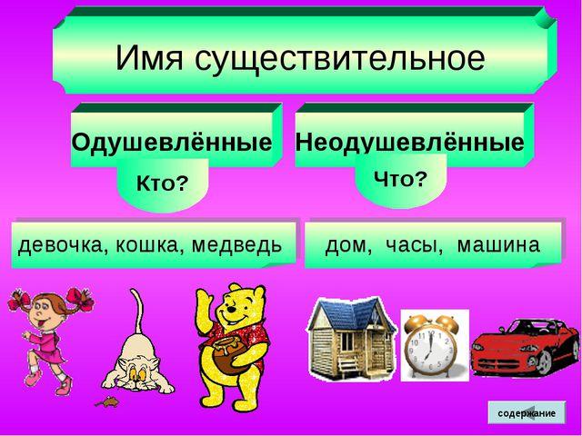Имя существительное Одушевлённые Кто? Неодушевлённые Что? девочка, кошка, мед...