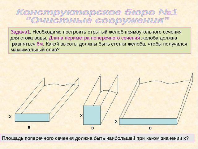 Задача1. Необходимо построить отрытый желоб прямоугольного сечения для стока...
