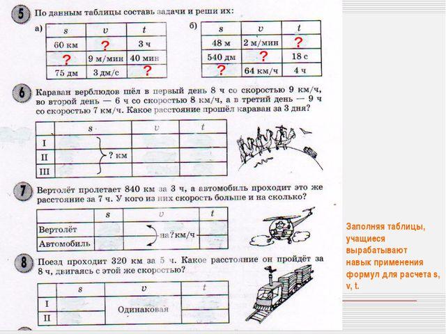 Заполняя таблицы, учащиеся вырабатывают навык применения формул для расчета s...