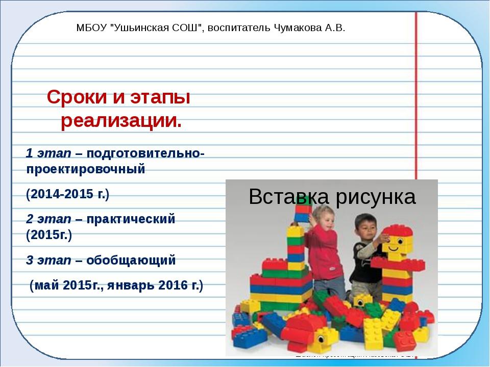 Сроки и этапы реализации. 1 этап – подготовительно-проектировочный (2014-2015...