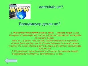1. World Wide Web (WWW немесе Web) - гипермәтіндік құжат Интернет мәліметтері