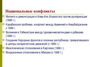 Национальные конфликты Митинги и демонстрации в Алма-Ате (Казахстан) против р