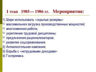 I этап 1985— 1986 гг. Мероприятия: 1) Шире использовать «скрытые резервы» ма