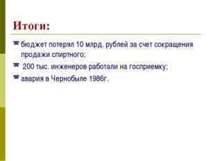 Итоги: бюджет потерял 10 млрд. рублей за счет сокращения продажи спиртного; 2