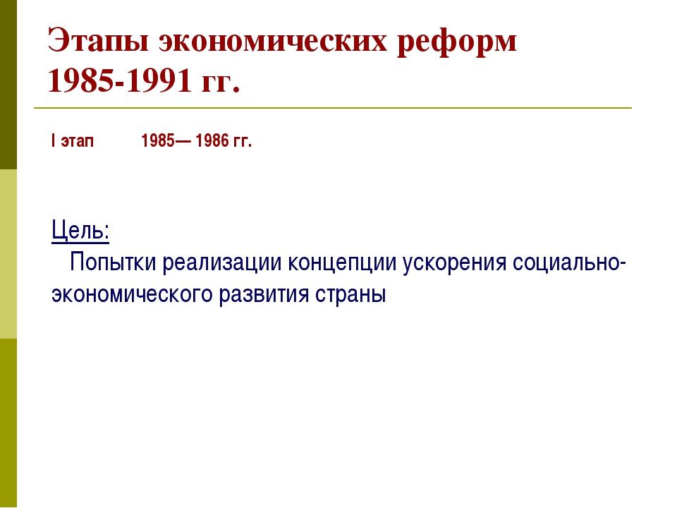 Этапы экономических реформ 1985-1991 гг. I этап 1985— 1986 гг. Цель: Попытки...