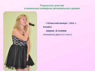 Результаты участия в вокальных конкурсах регионального уровня Областной конку