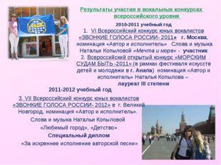Результаты участия в вокальных конкурсах всероссийского уровня 2010-2011 учеб
