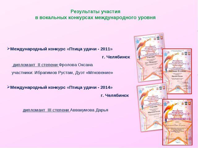 Результаты участия в вокальных конкурсах международного уровня Международный...