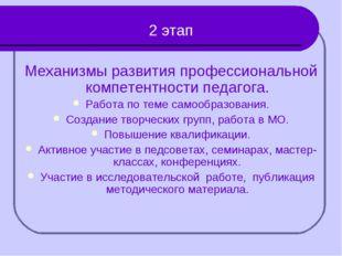 2 этап Механизмы развития профессиональной компетентности педагога. Работа п
