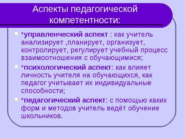 Аспекты педагогической компетентности: *управленческий аспект : как учитель а...