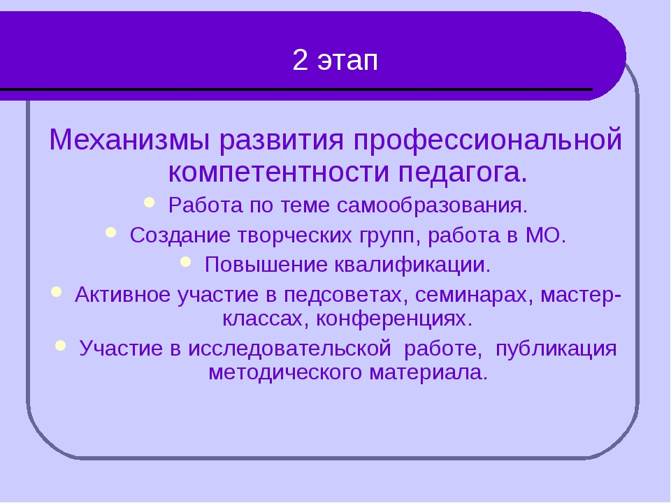 2 этап Механизмы развития профессиональной компетентности педагога. Работа п...