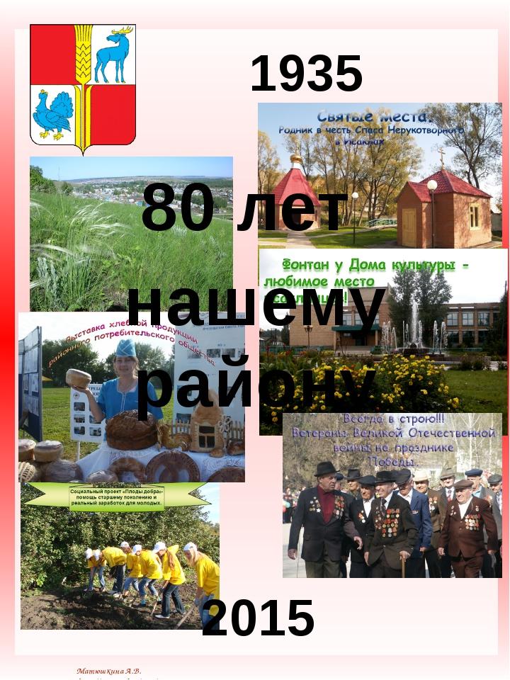 80 лет нашему району 1935 2015 Матюшкина А.В. http://nsportal.ru/user/33485