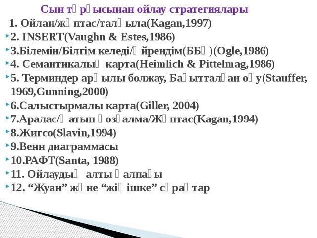 Сын тұрғысынан ойлау стратегиялары 1. Ойлан/жұптас/талқыла(Kagan,1997) 2. IN...
