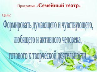 Программа «Семейный театр» Цель: