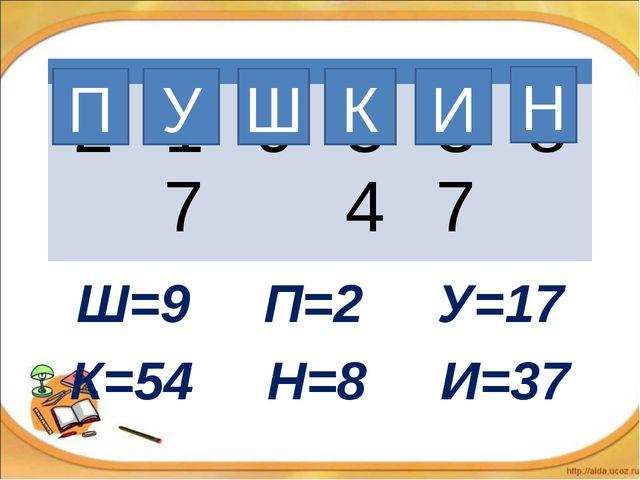 Ш=9 П=2 У=17 К=54 Н=8 И=37 П У Ш К И Н  217954378