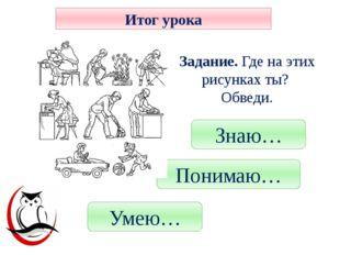Знаю… Понимаю… Умею… Итог урока Рефлексия Задание. Где на этих рисунках ты? О
