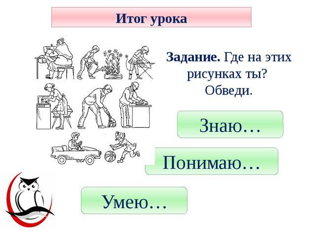 Знаю… Понимаю… Умею… Итог урока Рефлексия Задание. Где на этих рисунках ты? О...
