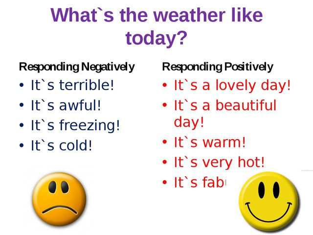 What`s the weather like today? Responding Negatively It`s terrible! It`s awfu...