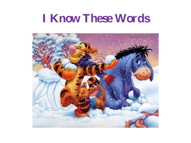 I Know These Words