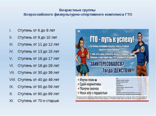 Возрастные группы Всероссийского физкультурно-спортивного комплекса ГТО Ступе