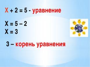 Х + 2 = 5 - уравнение Х = 5 – 2 Х = 3 3 – корень уравнения
