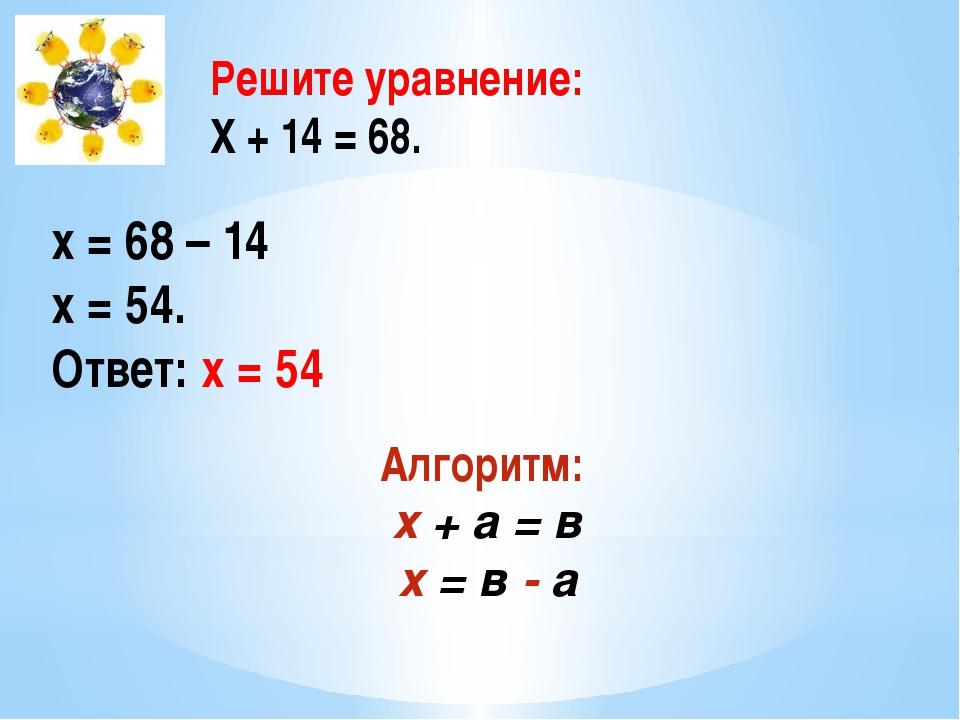 Решите уравнение: Х + 14 = 68. х = 68 – 14 х = 54. Ответ: х = 54 Алгоритм: х...