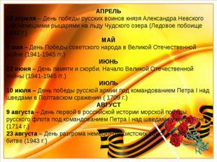 АПРЕЛЬ 18 апреля – День победы русских воинов князя Александра Невского над н