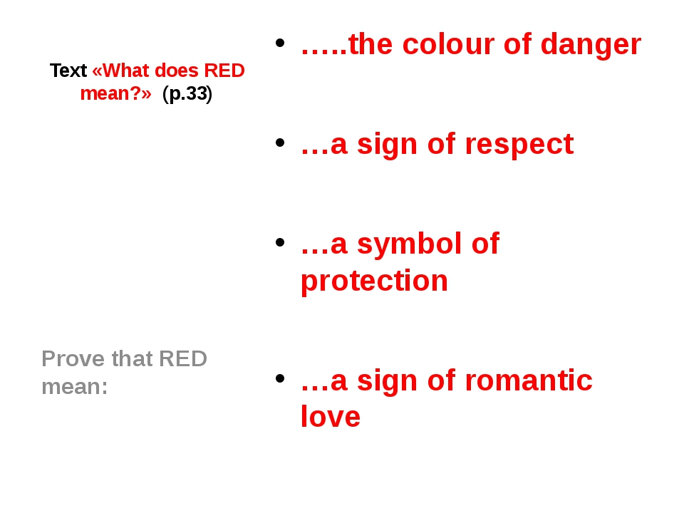 Text «What does RED mean?» (p.33) …..the colour of danger …a sign of respect...