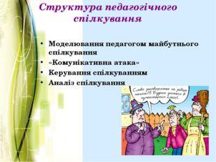 Структура педагогічного спілкування Моделювання педагогом майбутнього спілкув