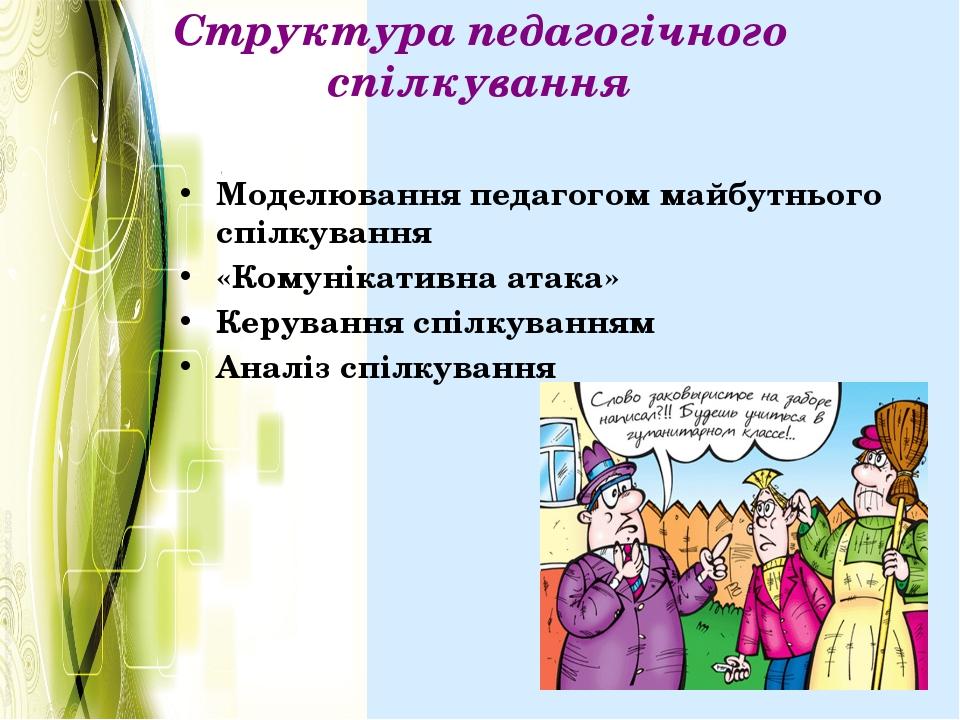 Структура педагогічного спілкування Моделювання педагогом майбутнього спілкув...