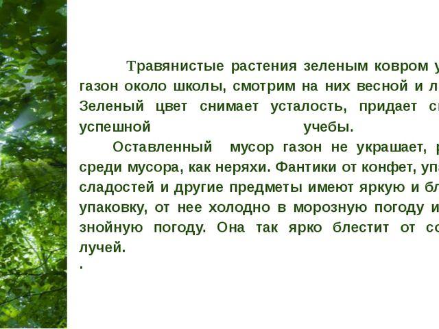 Травянистые растения зеленым ковром укрываем газон около школы, смотрим на н...