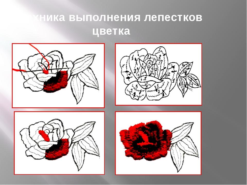 Техника выполнения лепестков цветка