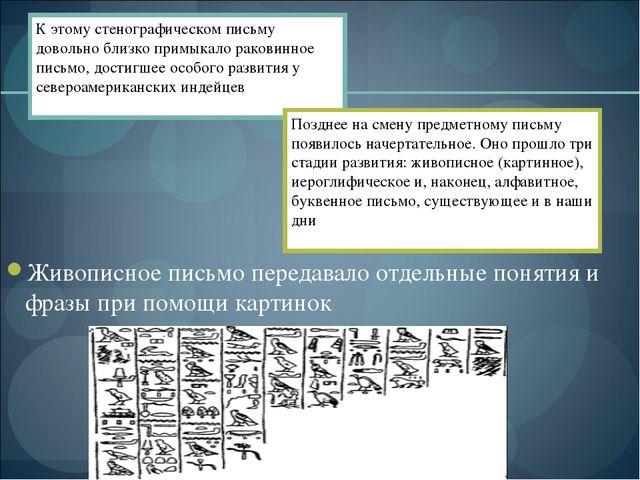 Живописное письмо передавало отдельные понятия и фразы при помощи картинок К...