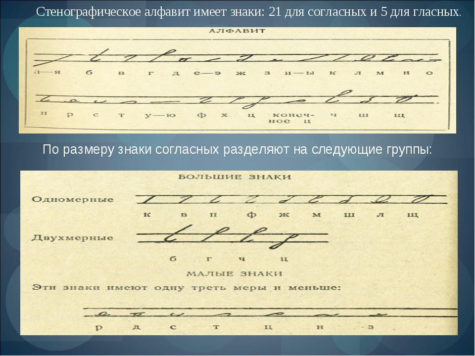 Стенографическое алфавит имеет знаки: 21 для согласных и 5 для гласных. По р...