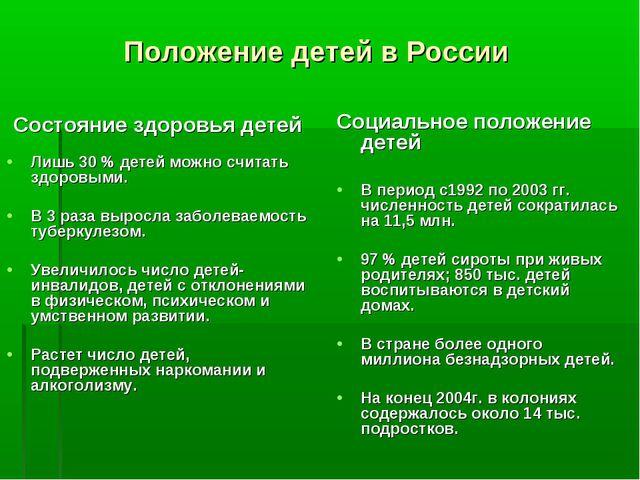 Положение детей в России Состояние здоровья детей Лишь 30 % детей можно счита...