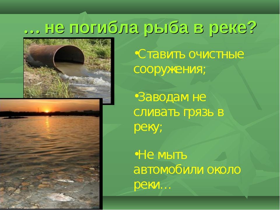 … не погибла рыба в реке? Ставить очистные сооружения; Заводам не сливать гря...