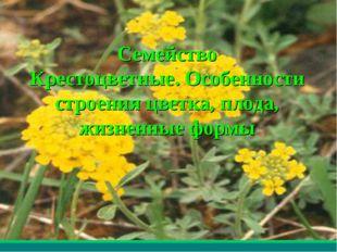 * Мерзликина Галина Валерьевна Семейство Крестоцветные. Особенности строения
