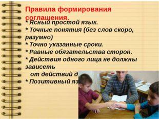 Правила формирования соглашения. * Ясный простой язык. * Точные понятия (без