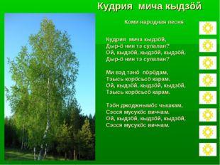 Кудрия мича кыдзöй Коми народная песня Кудрия мича кыдзöй, Дыр-ö нин тэ сулал